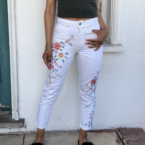 Topshop white embroidered floral jeans